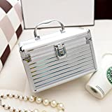 Frcolor Aluminium Make-up Kosmetik Vanity Case Kosmetikbox Organizer Container (Silber)