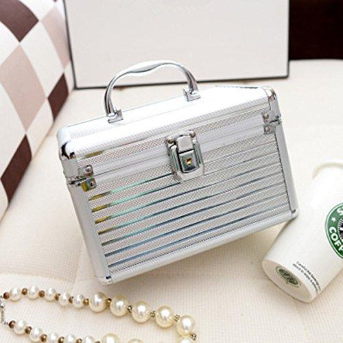 Beauty Case Silber (Frcolor Aluminium Make-up Kosmetik Vanity Case Kosmetikbox Organizer Container (Silber))