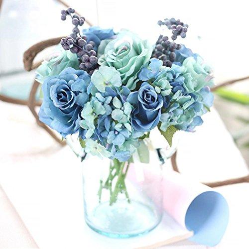 Longra Wohnaccessoires & Deko Kunstblumen Künstliche Seide Kunstblumen Blatt Rose Floral Bouquet Home Hochzeit Party Dekoration Blumen (blue)