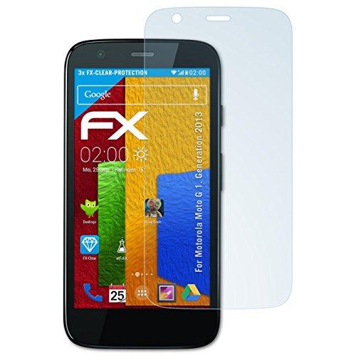 atFolix Schutzfolie kompatibel mit Motorola Moto G 1. Generation 2013 Folie, ultraklare FX Displayschutzfolie (3X)