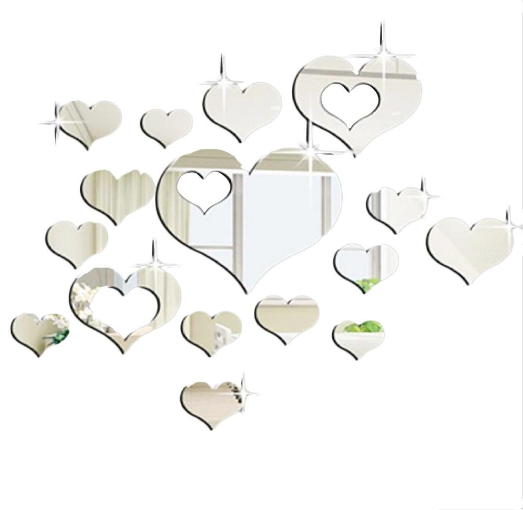 Specchi adesivi decorativi adesivi specchio adesivi da parete home 3d removibile cuore arte - Specchi adesivi da parete ...