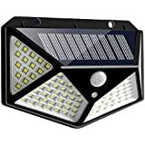 Solar Light Outdoor 100 LED Waterproof with Motion Sensor 270° Wide Angle for Pathway Porch Yard Garage Garden Fence Walkway