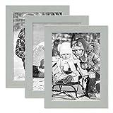 PHOTOLINI 3er Set Bilderrahmen Grau 10x15 cm Massivholz mit Acrylglasscheibe/Fotorahmen Hellgrau/Wechselrahmen