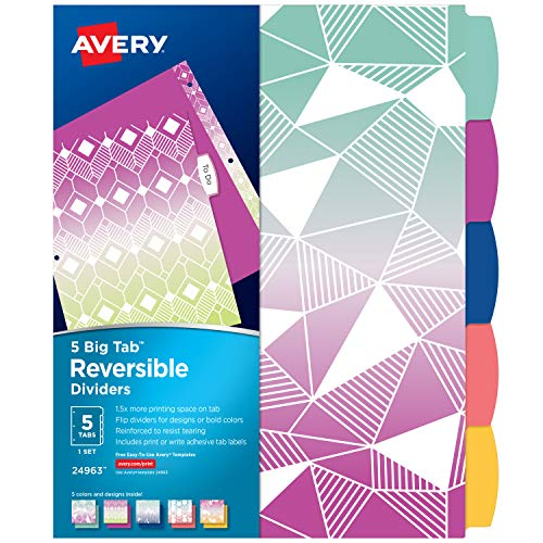 Avery 24963 Ordner-Trennblätter, mit 5 Fächern, umkehrbar, geometrisches Design, große Taben, 1 Set (Ordner Geometrische)