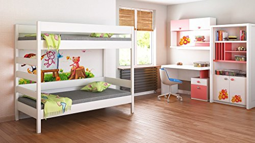 Bunk Beds - Kids Children Juniors Single 140x70, 160x80, 180x80, 180x90, 200x90, with 10cm Foam Mattress and Drawers Included Ladder on the Side (Short Edge) (180x80, White)