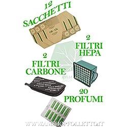 12Sacs + 15Parfums + 2Filtres HEPA + 2Filtres Anti-odeurs pour VK130131Aspirateur Vorwerk, produits adaptables