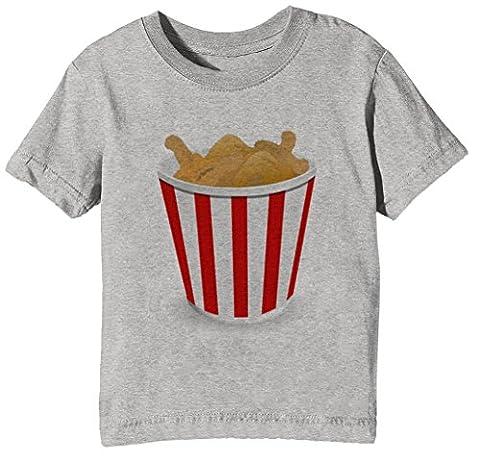 Frit Poulet Enfants Unisexe Garçon Filles T-shirt Cou D'équipage Gris