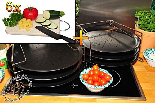 Picknickset, Picknickbretter - 6x TRADITIONELL rundes Pizzablech mit gelochtem Boden + 2x 4 stufiger Edelstahl-Pizzablechhalter, ca. 33 cm x 1 mm & 6 Stk. hochwertiges ca. 16 mm starkes Picknick-Grill-Holzbrett mit Edelstahlhenkel natur, mit abgerundeten Kanten, Maße viereckig ca. 27 cm x 15 cm als Bruschetta-Servierbrett, Brotzeitbrett, Bayerisches Brotzeitbrettl, NEU Massive Schneidebretter