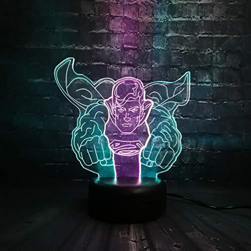 tice League Superman Figur 3D Led Ir Touch 7 Mixed-Double Farbe Thema Party Weihnachten Nachtlicht Jungen Mann Geschenk ()