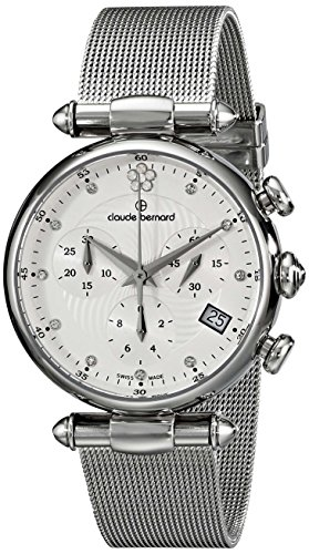 Claude Bernard Women's 10216 3 APN2 Dress Code Chronograph Analog Display Swiss Quartz Silver Watch