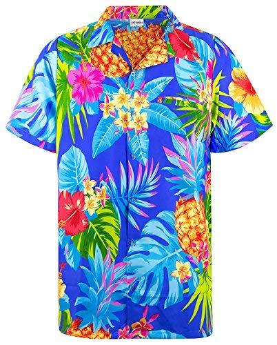 King Kameha Funky Hawaiihemd, Kurzarm, Ananas, Blau, ()