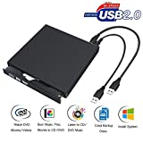 DVD Laufwerk Externe USB 2.0 CD/DVD Externer Brenner Super drive portable Blue Ray Rom 3D Laufwerk DVD + R, DVD-R, CD-ROM, DVD-ROM, CD-R, CD-RW Slim für Computer Notebook Ultrabook Netbook Laptop Windows Mac Apple iMAC Macbook Pro Air - Schwarz