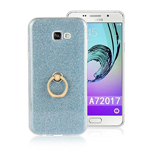 Luxus Bling Sparkle Style Case, Soft TPU [Silikon] Flexible Glitter Back Cover mit Fingerring Stand [Anti Scratch] [Shockproof] für Samsung Galaxy A7 2017 ( Color : White ) Blue