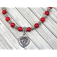 Red turquoise women's necklace with filigree pendant