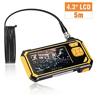 ROTEK Industrial Endoscope, Inspection Camera 4.3 Inch Color LCD Screen, Semi-rigid Handheld Video Borescope 1080P HD with 6 LED, Waterproof Snake Camera with 2600mah Lithium Battery - 5 Meter
