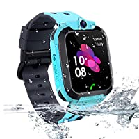 Kids Tracker Smart Watch Waterproof, Vannico Touch Screen Mobile Smart Watches for Girls Boys, SOS Anti-Lost Sim Card Smartwatch with Camera, Game for Children Gift (S12B-Blue)