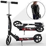 Kinetic Sports Scooter Cityroller Roller Tretroller Klappbar 205 mm XXL Räder bis 75kg Rot-Schwarz