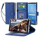 FYY Cover Galaxy Note 8, [RFID Portafoglio Blocco] Fatto a mano Custodia B-Bleu Foncé