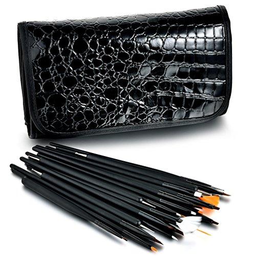 Glow Nail Art Outils réglés; 25 pinceaux et, outils de pointillage pour nail art; noir