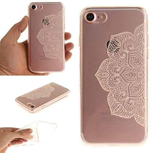 """Apple iPhone 7 4.7"""" hülle,MCHSHOP Ultra Slim Skin Gel TPU hülle weiche Silicone Silikon Schutzhülle Case für Apple iPhone 7 4.7"""" - 1 Kostenlose Stylus (Jahrgang Blumenrebe) Halbe weiße Blüten"""