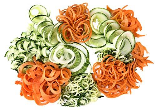 517kfLZisML - Team Kalorik Vegetable Spiralizer, 3 Different Discs Included, Plastic Collecting Recipient, 80W, Black, TKG SSP 1000