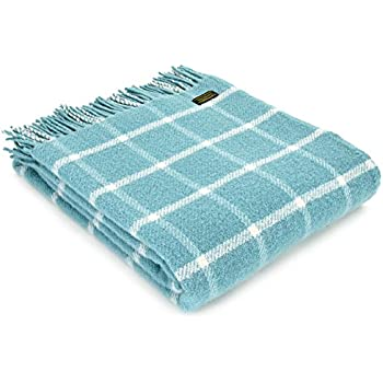 Tweedmill Diamond Merino Wool Blanket Throw in Lagoon Blue or Rainbow