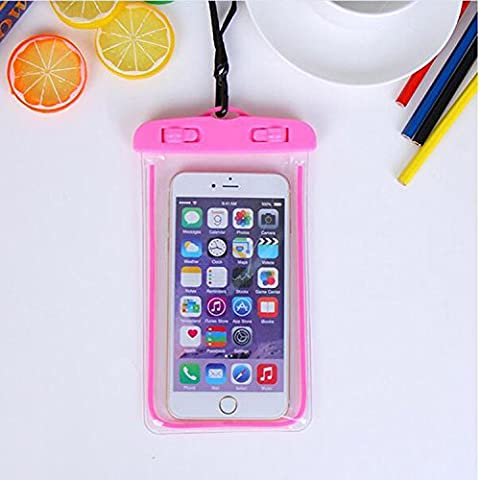 For Imperméable Phone Case,Maetek PVC Lumineux Case Cover Imperméable Cell Phone Sac à sac sec for Smartphone up to 6 inches-Red