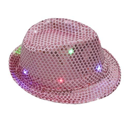 Saingace Hüte Paillettenhut Party Hut mit Pailletten und LED Beleuchtung, Unisex-Erwachsene, Einheitsgröße