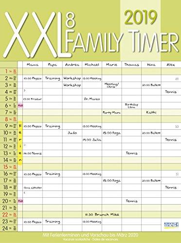 XXL Family Timer 8 2019: Familienplaner mit 8 breiten Spalten. Hochwertiger Familienkalender mit Ferienterminen, extra Spalte, Vorschau bis März 2020 und nützlichen Zusatzinformationen.