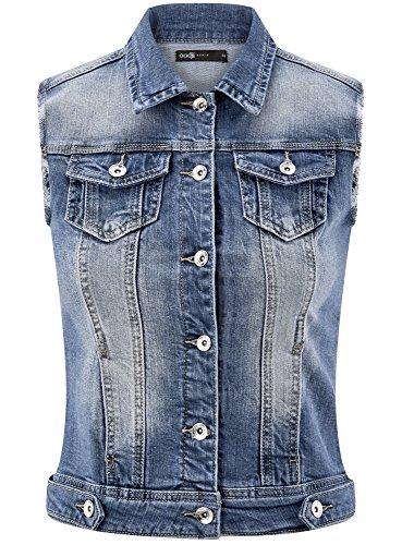 oodji Ultra Damen Jeansweste mit Ziertaschen Blau (7500W)