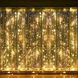 Vorhang Lichter Indoor, LED Fenster Vorhang Lichterketten, 300 LEDs, 3M × 3M, 8 Modi Eiszapfen Lichterketten mit Fernbedienung Warm White Gartenleuchten für Hochzeit, Weihnachten, Party