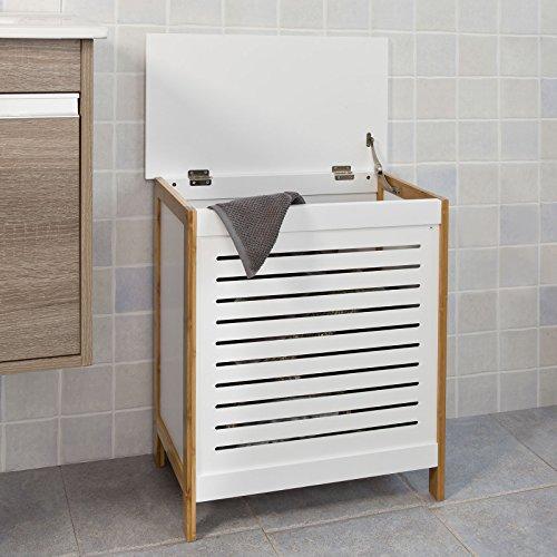 SoBuy® Wäschetruhe weiß+natur, FSS66-WN, 50x30x60cm - 3