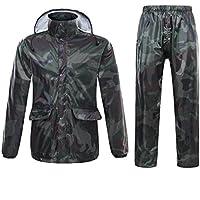 Freiesoldaten Hombre/Mujer Chaqueta Impermeable/pantalón Trajes a Prueba de Viento Capa/pantalón Conjunto Motocicleta Impermeable con Capucha Hideaway