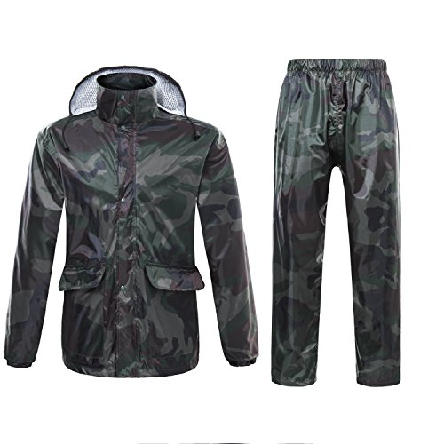 ynport crefreak Outdoor Herren/Damen Wasserdicht Regenmantel passt Camouflage Regenjacke mit Kapuze Poncho Coat Update Version, Herren, armee-grün
