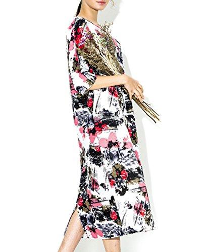 ELLAZHU Femme Spring Imprimé Manche Recadrée Maxi Chemise Robe SZ377 A SZ394