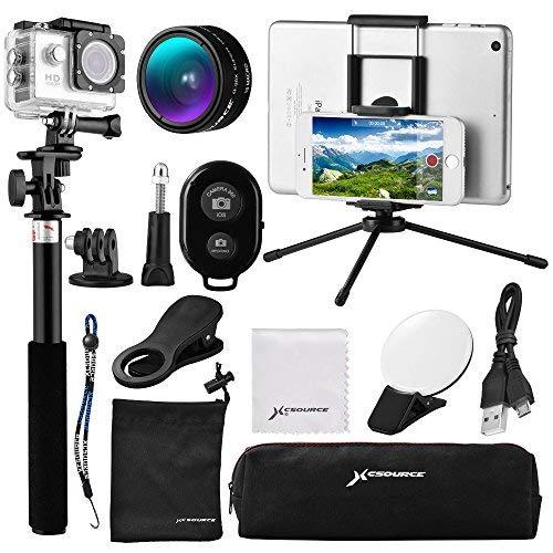 12-in-1 Mini Objektiv Set, Weitwinkel + Makro Objektiv + Bluetooth Shutter + 9 LED Aufhell-Licht + Selfie Stick Einbein-Stativ + Mini Stativ für iOS / Andriod Smartphone, Gopro Sport Action Kamera