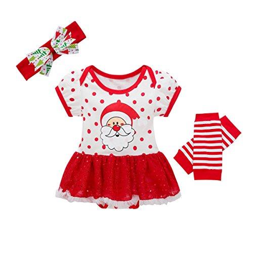 Baywell Baby Mädchen Weihnachten Bekleidungsset, Outfit Kleid mit Kopfband und Beinwärmer (XS/60/3-6 Monate, Santas Claus)
