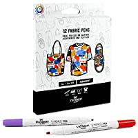 Stationery Island Dual Tip Fabric Pens Pack Of 12 Colours - 1mm And 2mm Nibs. Permanent Washable Fabric Markers With Felt Tips. For Textiles (Inc. T-Shirts, Denim, Cloth Bags And Canvas)