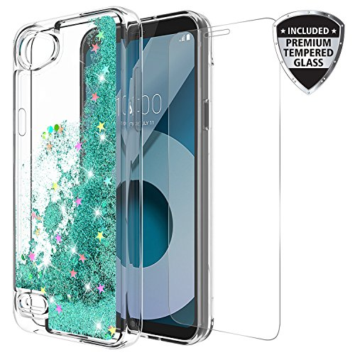 LG Q6Fall mit gehärtetem Glas Displayschutzfolie, rosebono Treibsand Glitzer Funkelnd Bling Cute Liquid glänzend Luxus Klar Soft TPU Bumper Schutzhülle für LG Q6, Blaugrün