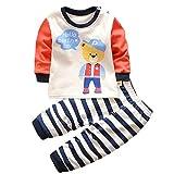 HENGSONG Chapeau Ours Impression Garçons Filles Coton Pyjama Bébé Four Seasons Sous-vêtements Ensembles Enfants (90cm)