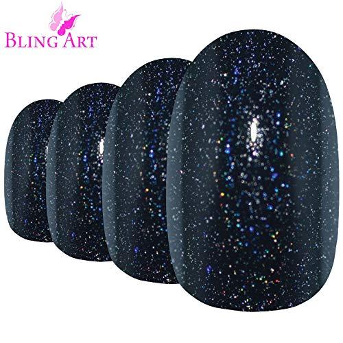 Faux Ongles Bling Art Noir Gel Ovale 24 Moyen Faux bouts d'ongles acrylique