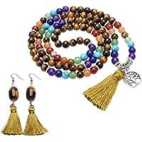 JOVIVI 8mm Mala Beads Lebensbaum Anhänger 108 Perlen Tibetische Gebetskette + Fransen Design Edelstein Ohrringe... preisvergleich bei billige-tabletten.eu