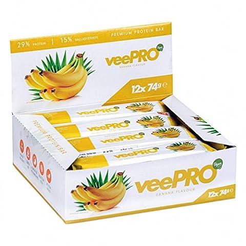Protein-Riegel von PROFUEL® | Hochwertig und vegan aus Erbsen-Protein | Eiweiß-Riegel mit Ballaststoffe und Stevia| Ohne Gluten, Laktosefrei | 12 x 74g veePRO Protein-Bar (Gluten Laktosefrei)