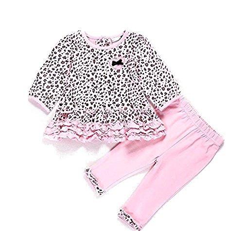 Baby Mädchen Blossom Rüschen Leopard Bubble Bow Top + Leggings 2-teiliges Set Gr. 12 Monate, Leopardenmuster Bubble-top-legging-set