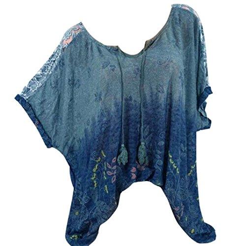 VJGOAL Damen T-Shirt, Damen Mode Kurzarm V-Ausschnitt Spitze Gedruckte Spitze Tops Sommer Lose T-Shirt Bluse (L/46, X-Blumen-Marine)