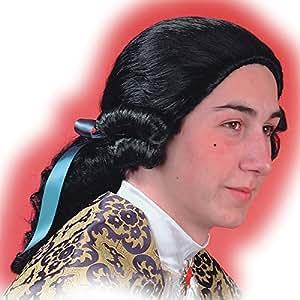Perruque marquis noire avec catogan cavalier [2319]