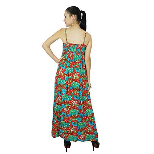 Bimba Femmes Robe longue bohème chic Été Maxi Beach Wear Rouge