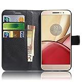 Motorola Moto M Custodia , Anzhao Flip Cover Portafoglio con Slot per Schede Protettiva Custodia in Pelle per Motorola Moto M (Nero)
