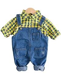 a96000de1 ARAUS Ropa Niños Camisa de Cuadros + Vaquero Conjuntos Bebé 2 Piezas  Pantalones de Petos Primavera
