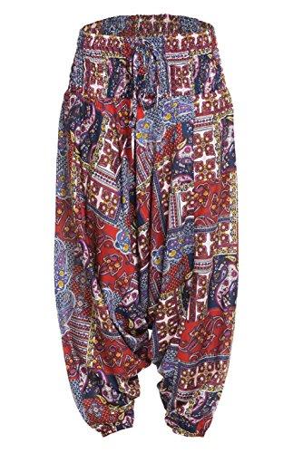 Haremshose Pumphose aus 100% Baumwolle mit elastischem Bund und zwei Taschen, unisex, viele Muster Design 2
